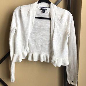 Women's cream ruffle cardigan